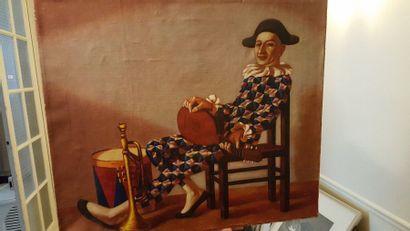 """Andrei VOURIAK """"Arlequin"""", huile sur toile, signée au dos et datée 2000. 60 x 7..."""
