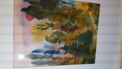"""Eugenia MIRO (MIROCHNIKO) """"Forêt"""", gouache, signée en bas à droite. 28 x 22cm. ..."""