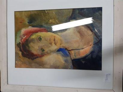"""Eugenia MIRO (MIROCHNIKO) """"Femme au Turban"""", gouache, signée au dos. 39 x 27cm...."""