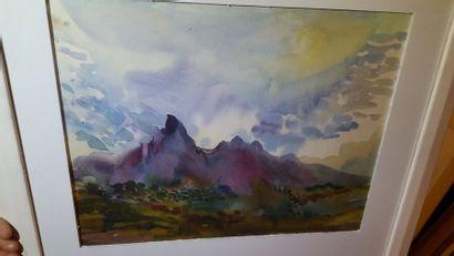 """Eugenia MIRO (MIROCHNIKO) """"Montagnes"""", gouache, signée en bas à droite. 31x40cm...."""