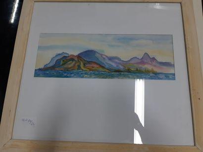 """Eugenia MIRO (MIROCHNIKO) """"Montagnes dans le midi"""", gouache, signée en bas à droite...."""