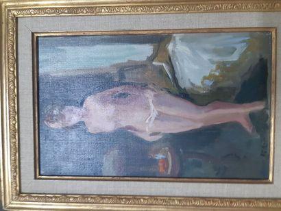 """Roger BERTIN (1915-2003) """"Nu Féminin"""", huile sur toile, signée en bas à gauche...."""