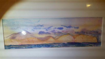 """Eugenia MIRO (MIROCHNIKO) """"Falaises sur la mer"""", gouache, signée en bas à droite...."""