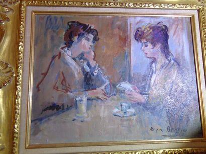 """Roger BERTIN (1915-2003) """"La Conversation"""", huile sur toile, signée en bas à gauche...."""