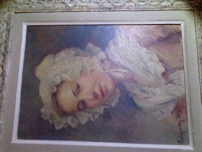 """Hippolyte du Nolly-Tollet (?) """"Portrait de Jeune Fille à la coiffe blanche"""", huile..."""