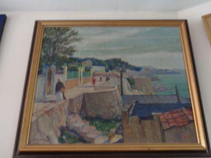 """René DEYDIER (1882-1942) """"Scène orientaliste,vue d'un village de bord de mer"""", huile..."""