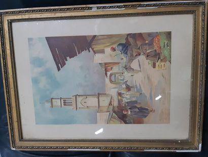 """Louis LESSIEUX (1874-1938) """"Vue de Casablanca"""", aquarelle, signée en bas à gauche...."""