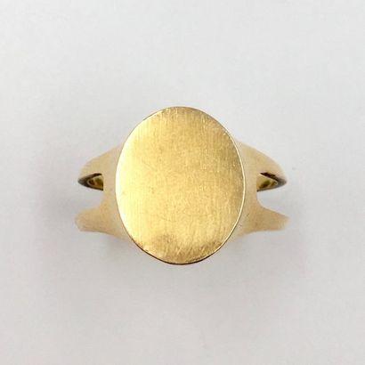 BAGUE CHEVALIERE en or jaune (750 millièmes)...