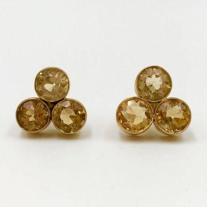 Paire de BOUCLES D'OREILLES en or jaune (750...