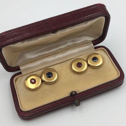 Paire de BOUTONS DE MANCHETTES circulaires en or jaune (750 millièmes)  serti d'un...