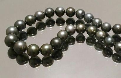 COLLIER composé d'un rang de perles de culture grises de Tahiti.  Fermoir en or...