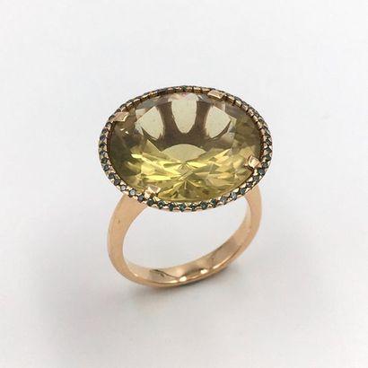 BAGUE circulaire en or jaune (750 millièmes)...