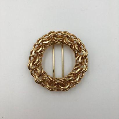 CLIP DE CORSAGE circulaire en or jaune (585...