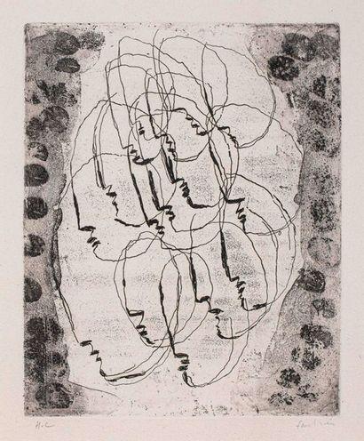 Jean FAUTRIER (1898-1964)  Visages  Gravure...