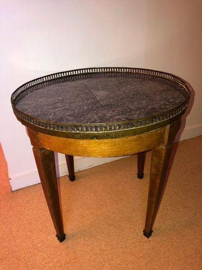 Table bouillotte basse en bois naturel mouluré,...