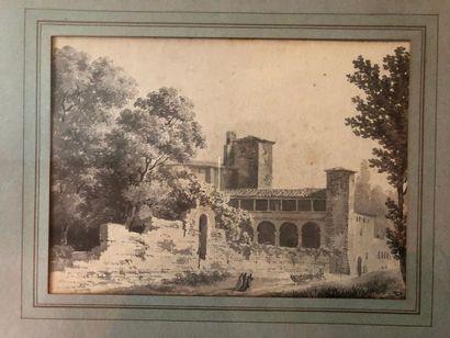 #Ecole italienne du XIXème siècle  Paysage...