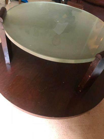 #Table basse de forme circulaire en bois de placage les montants retenant une dalle...
