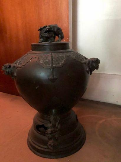 #Important brûle parfum en bronze