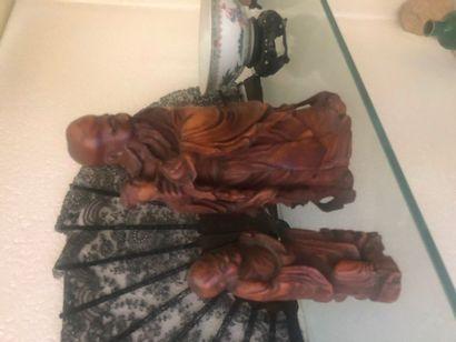 Deux taoïstes en bois