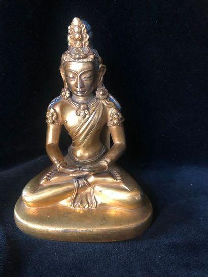 Divinité tibétaine en bronze doré