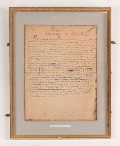 BARBEY D'AUREVILLY Manuscrit à l'encre rouge...