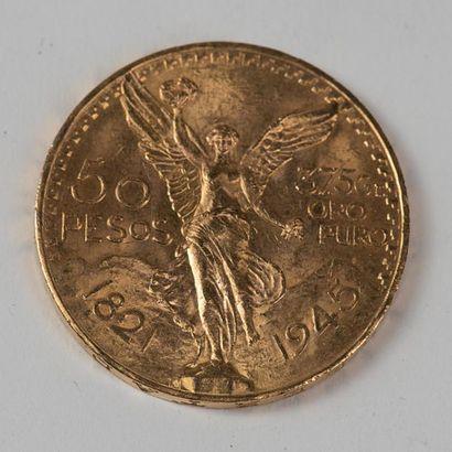 Une pièce en or de 50 pesos 1821 . Poids:...