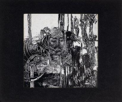Lot comprenant: une gravure en noir de Michaux...