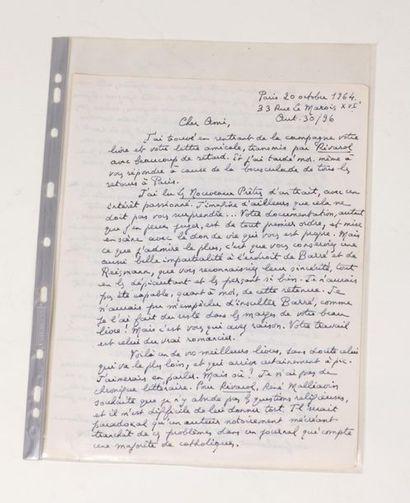 Une lettre autographe de format A4 de Lucien...