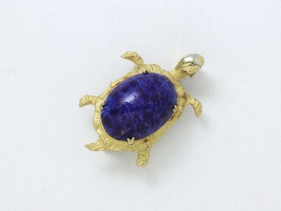 Broche en métal doré stylisant une tortue,...