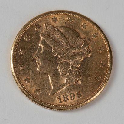 Une pièce en or de 20 dollars américain 1895...