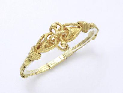 Bracelet en or 750 millièmes estampé, centré...