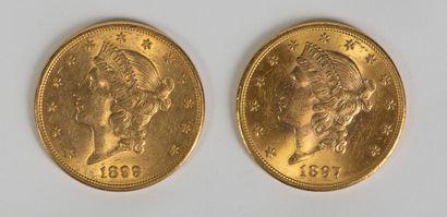 Une pièce en or de 20 dollars 1899 et une pièce de 20 dollars 1897. Ce lot est vendu...