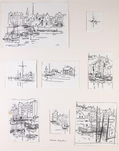 Jacques BOUYSSOU ensemble de huit dessins...