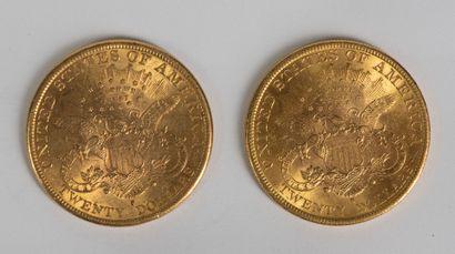 Une pièce en or de 20 dollars 1899 et une...