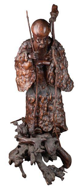 Grande sculpture en racine représentant Shou...