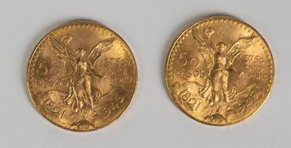 Une pièce en or de 50 pesos 1821-1947 et une pièce en or de 50 pesos 1821-1946....