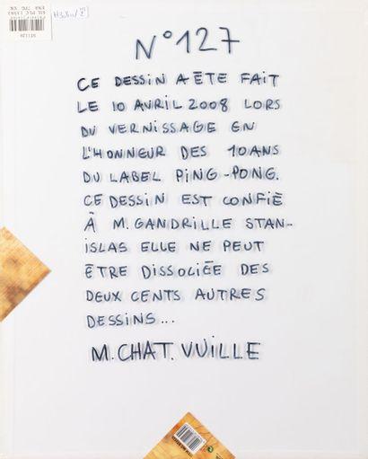 """T. VUILLE dit MONSIEUR CHAT""""Le chat"""" signé et daté, 50x40cm on y joint un vinyle..."""