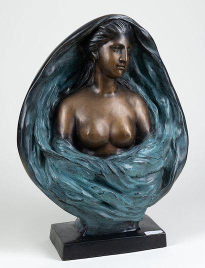 Buste de femme en bronze / polychrome sur...