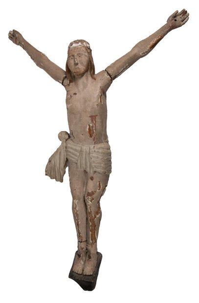 Christ en bois peint, H 95cm
