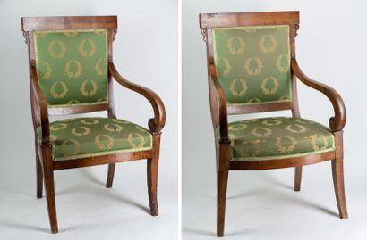 Paire de fauteuils anciens pieds gainés en...