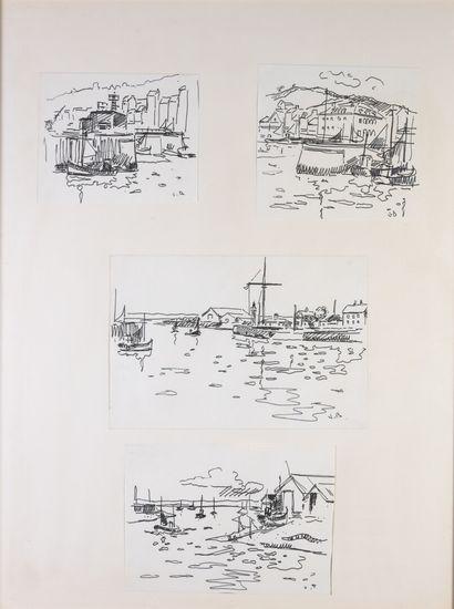 Jacques BOUYSSOU ensemble de quatre dessins...