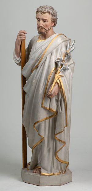 Statue en platre représentant un homme religieux...