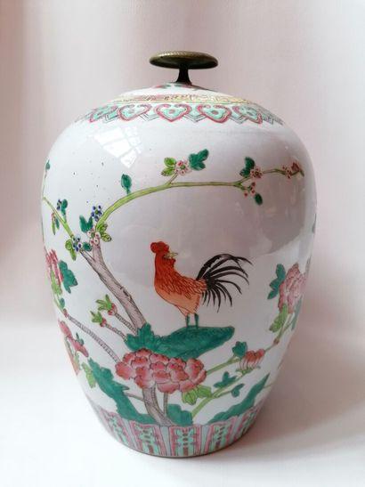 Pot a gingembre en porcelaine de Chine, percé...