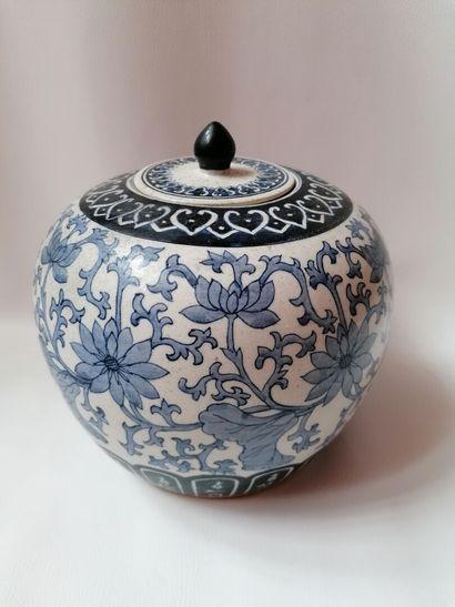 Pot à gingembre en porcelaine de Chine bleu...