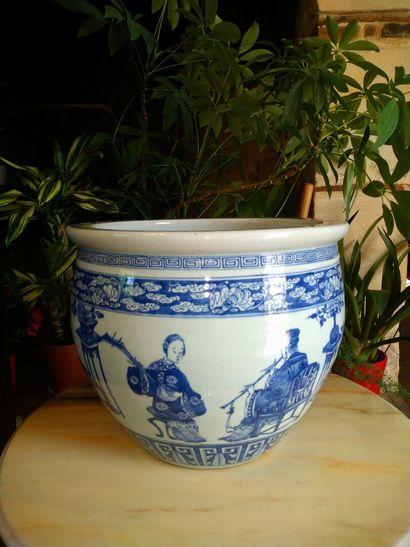 Chine : cache pot en porcelaine chinoise...