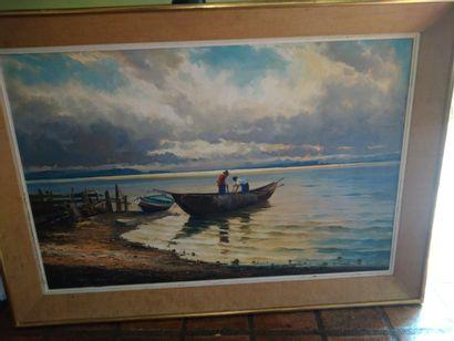 La barque des deux pêcheurs, huile sur toile...