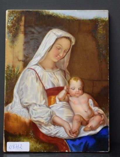 Plaque en porcelaine peinte vers 1850 à décor...