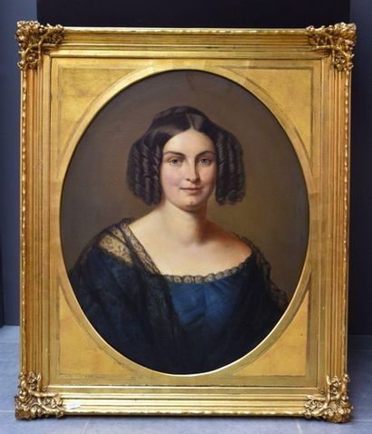 Huile sur toile, portrait de dame de qualité...