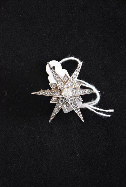 Broche étoile ( XX ème ) argent or diamants...
