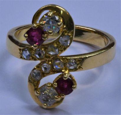 Bague toi et moi en or jaune, diamants et...